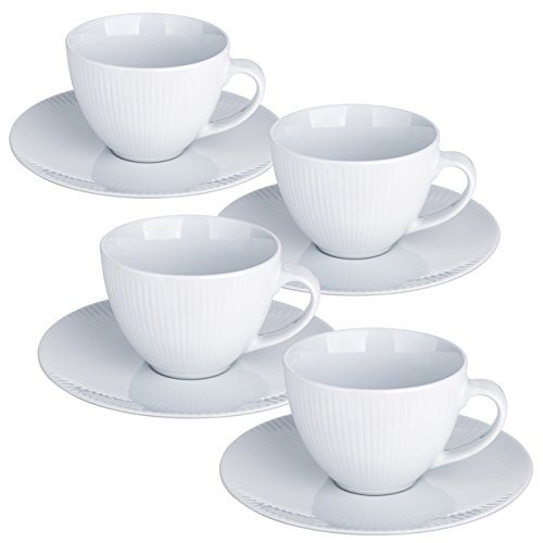 YHY 10-Ounce Porcelain Cappuccino Cups and Saucers, White Tea/Coffee Cup and Saucer Set with Decorative Line, Set of 4 Cup Saucer Cafe
