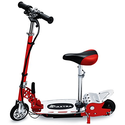 Maxtra E120 Electric Scooter with Seat 177lbs Max Weight Capacity Motorized Bike Removable Seat Red