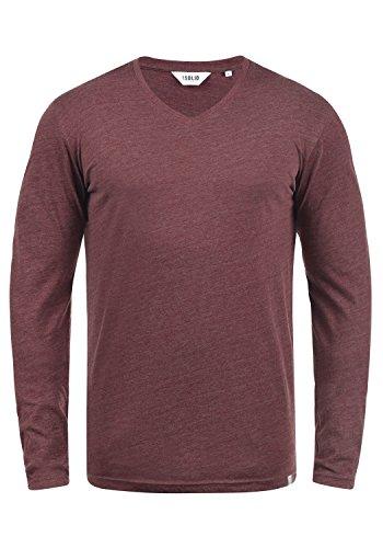 De Wine Para Camiseta Red Básico Hombre Manga solid 8985 Larga Melange 75wqxB