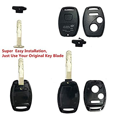 Replacement Keyless Entry Key Fob Case Fit for Honda 2003-2007 Accord 2005-2006 CR-V Ridgeline Civic Remote Control Key Combo 3 Buttons Replacement Car Key Shell Casing Blank Without Blade(2+1 Button): Automotive