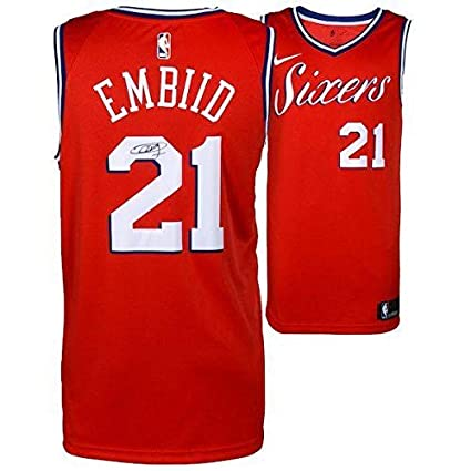 best service 6b05e 5b6de Joel Embiid Signed Jersey - Red Statement Nike FANATICS ...