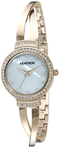 Armitron Women's 75/5474MPGP Swarovski Crystal Accented Gold-Tone Crossover Bangle Watch