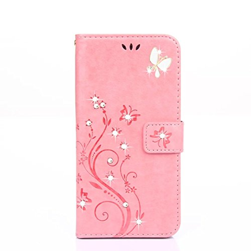 HAOTP(TM) Beauty Luxury 3D Fashion Handmade Bling Crystal Rhinestone Butterfly Floral Blue PU Flip Stand Credit Card ID Holders Wallet Leather Case Co…