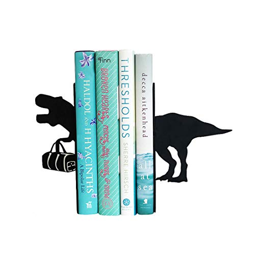 PandS T-Rex Dinosaur Bookends | Unique Bookends | Black Metal Decorative Book Ends | Gifts for Book Lovers | Kids Bookends Who Love -