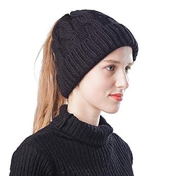 3e9ee754315741 Scrub Green Women Ponytail Beanie Hat Warm Lightweight Bun Messy Stretch  Cable Knit Winter Skull Cap