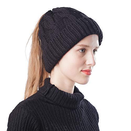 bdacf70a568 Scrub Green Women Ponytail Beanie Hat Warm Lightweight Bun Messy Stretch  Cable Knit Winter Skull Cap