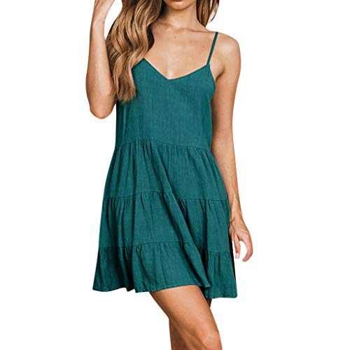 Ruffle Hem Mini Skirt, Women V Neck Backless Pleats Beach Dress Cocktail Party Holiday Night Out Dresses (Green, XL)