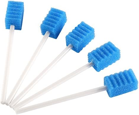 Disposable Unflavored Oral Care Sponge Swabs, Tooth Shape Blue (50 Count)