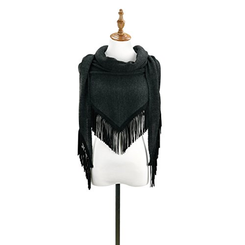 - Charcoal Grey Fringe Women's One Size Polyester Knit Triangle Fashion Scarf