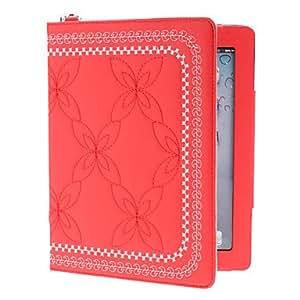 HOR Bordado pu estuche de cuero con soporte para el ipad 2/3/4 (colores surtidos) , Rosa