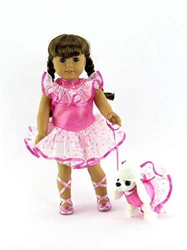 Pink Ballerina Outfit with Ballerina Poodle Pet (DOLL IS NOT INCLUDED.) | Fits 18