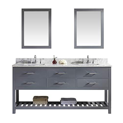 Caroline Estate 72 inch Double Sink Bathroom Vanity Set in Grey w/Square Undermount Sink, Italian Carrara White Marble Countertop, No Faucet, 2 Mirrors - MD-2272-WMSQ-GR