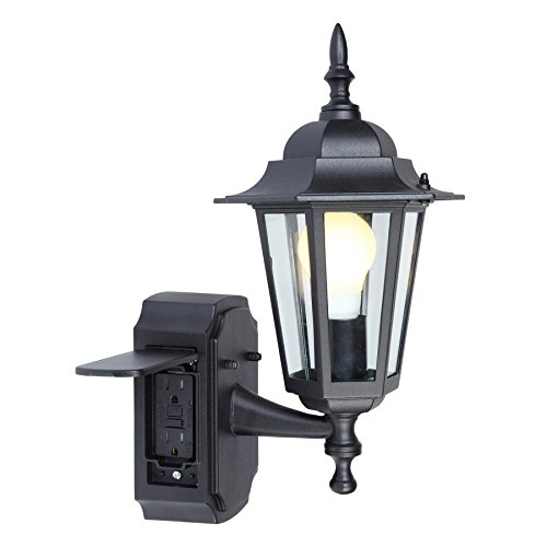 Outdoor Porch Light With Electrical Outlet in US - 3