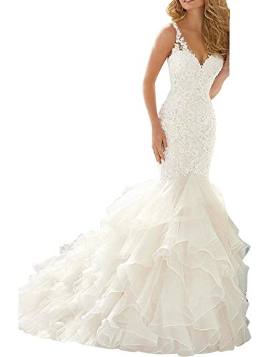 Beauty Bridal Mermaid Wedding Dress For Bride Lace V-neck Ruffles Applique Bridal Gowns S013 (12,White)