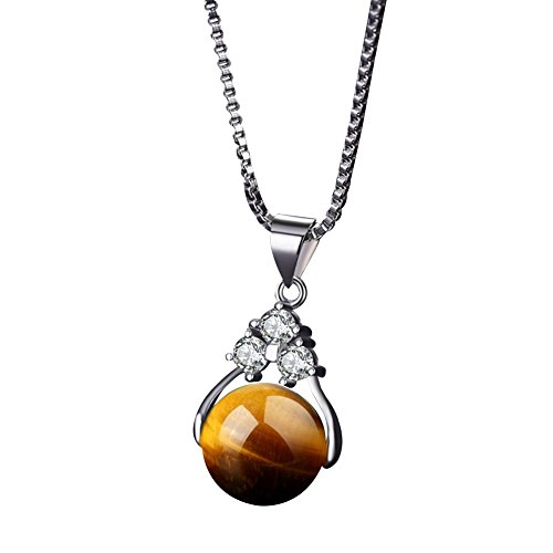 Crystal Pendant Heart Faux - Necklace Opeof Fashion Crystal Faux Gemstones Bead Pendant Women Necklace Jewelry Lucky Gift - Tiger Eye