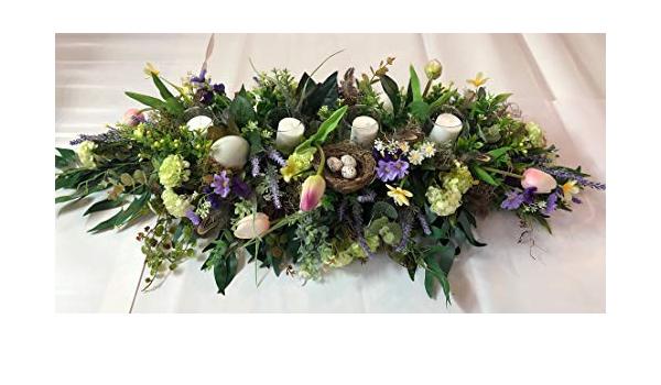 easter centerpiece artificial Easter arrangement silk flowers