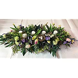 artificial Easter arrangement, silk flowers, easter centerpiece