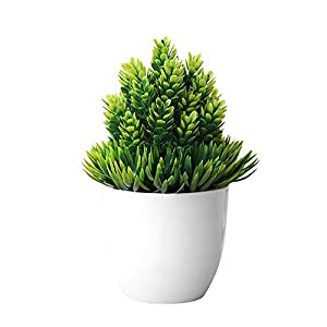 dezirZJjx Artificial Plants Artificial Potted Plant Fake Bonsai Table Simulation Decor for Home Office Hotel - Green 22