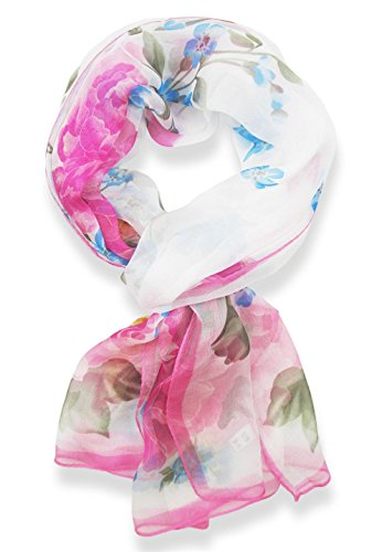 V28® Womens Floral & Nature Pattern Print 100% Silk Georgette Scarf