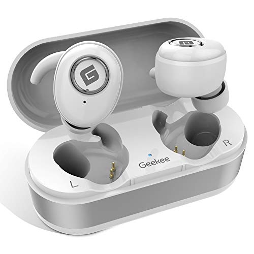 True Wireless Earbuds Bluetooth 5.0 Headphones, in-Ear TWS Stereo Headset w/Mic Extra Bass IPX5 Sweatproof Low Latency Instant Pairing 15H Battery Charging Case Noise Cancelling Earphones (Silver) (Best Sound Cancelling Earphones)