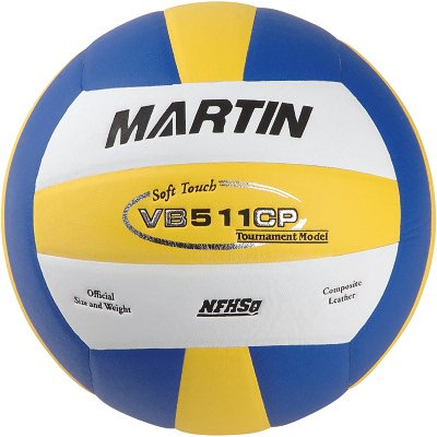 Martin Sports Soft Touch Composite Leather Official Size-NFHs Approved Volleyball, - Nfhs Leather Yellow