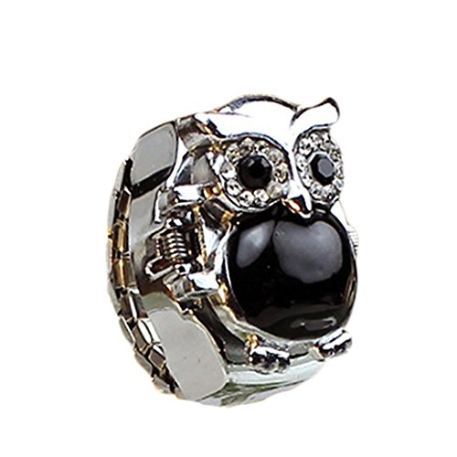 Acamifashion Women Shiny Rhinestone Owl Case Stainless Steel Elastic Finger Ring Watch - Black