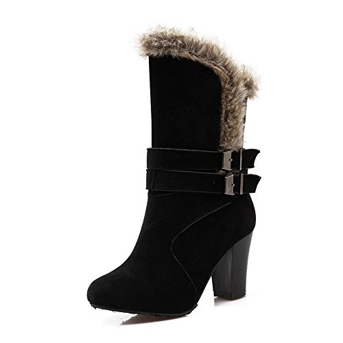 Chunky Buckle Fur Heels 1TO9 Frosted Black Ornament Girls Boots g5wPqA
