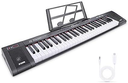 RenFox Digital Piano Teclado Musical Teclado de Piano Digital Teclado Electrónico Portátil con 61 Teclas, Soporte de Música, 200 Tonos, 200 ritmos, 60 ...