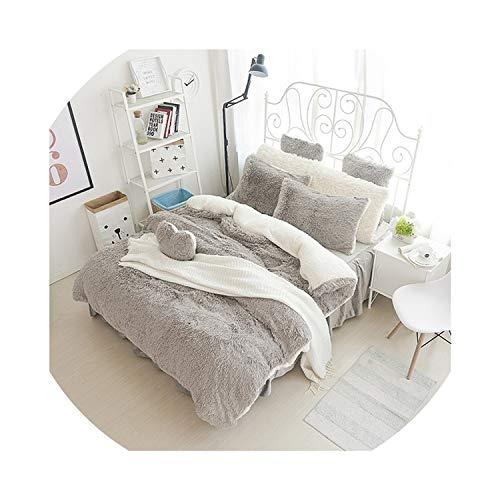 White Pink Fleece Bedding Set King Queen Twin Size Girls Bed Set Warm Soft Bed Sheet Duvet Cover Set Bed Skirt Parure Lit,5,King Size 7Pcs