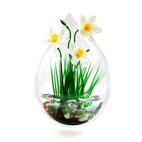 uxcell Acrylic Drop Shaped Wall Mounted Hanging Fishbowl Plant Bowl 7.9