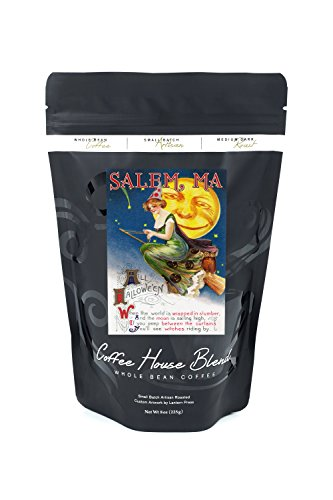 Salem, Massachusetts - Halloween Greeting - Witch on a Broom by Full Moon - Vintage Artwork (8oz Whole Bean Small Batch Artisan Coffee - Bold & Strong Medium Dark Roast w/ Artwork)
