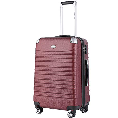 Hard shell Carry On Luggage, TSA Expandable Lightweight Carry ons, 20 inches Travel Collection Carry On Luggage with Spinners - Burgundy On Carry Luggage