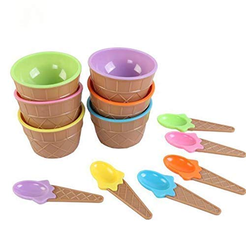 Cartoon Candy Color Ice Cream Bowl with Spoon Kids Ice Cream Tool Ice-Cream Scoops (Blue)
