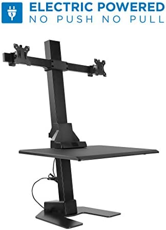 Mount-It Electric Standing Desk Converter, Motorized Sit Stand Desk with Dual Monitor Mount and iPhone Tablet Slot, Ergonomic Height Adjustable Workstation, Black MI-7952