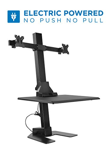 - Mount-It! Electric Standing Desk Converter, Motorized Sit Stand Desk with Dual Monitor Mount and iPhone/Tablet Slot, Ergonomic Height Adjustable Workstation, Black (MI-7952)