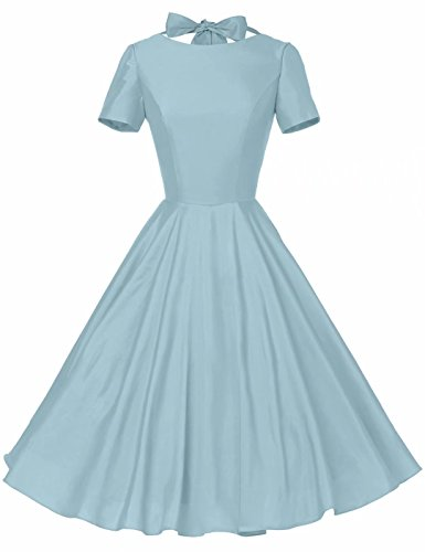 GownTown Womens 1950s Vintage Retro Party Swing Rockabillty Stretchy Dress - Large - Lightblue