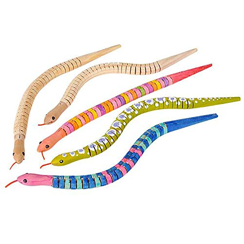 Kicko 12 Inch Wooden Craft Snake - 12 Pieces Timber Animal, Blank Canvas, Arts and Crafts, Playtime Activity, Summer Camp, Goody Bag Filler, Class Project, Learn Basic Painting Workshop, Halloween Prop -