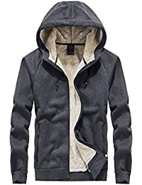 Men's Classic Sherpa Lined Full Zip Up Hoodies Sweatshirt Jacket Outwear