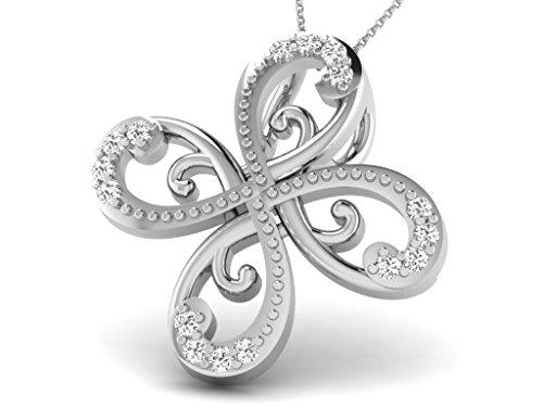 Or Blanc 18 ct Pendentifs Diamant en forme de fleur, 0.07 Ct Diamant, GH-SI, 0.72 grammes.