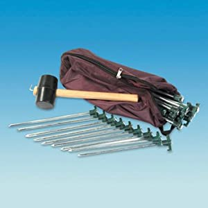 PENNINE Tent Peg Camping Kit – 20 Rock pegs – Mallet – Extractor – Carry bag