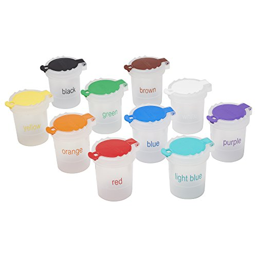 ECR4Kids Mini Trilingual Paint Cups with Lids - Educational Art Supplies for Kids and Toddlers (10-Piece Set) ()