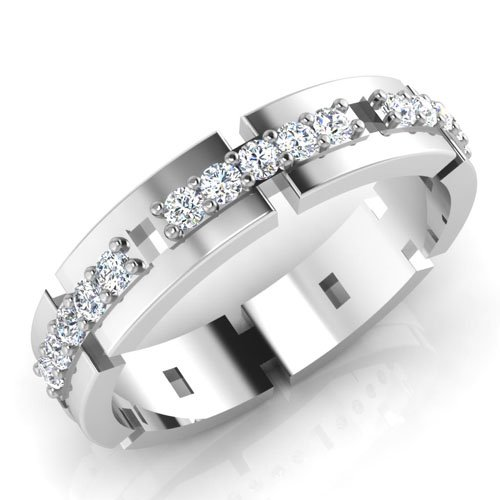 0,33 Ct redonda natural diamond anillos de boda para hombre 14 K oro blanco