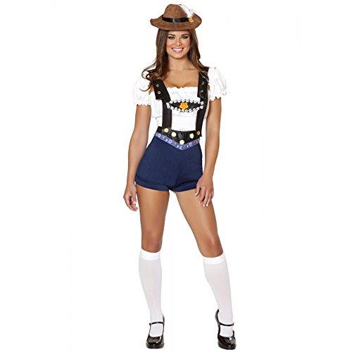 Ocktoberfest 4pc Women's Beer Bar Maid Blue Lederhosen Costume -