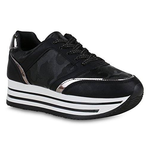 official photos 3a721 1b100 Stiefelparadies Damen Plateau Sneaker Glitzer Metallic ...