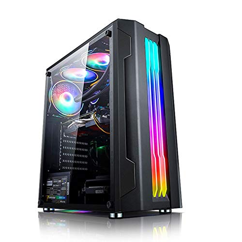QLT I/O USB Port Gaming Case,Mid-Tower ATX/M-ATX/Mini-ITX PC Gaming Computer Case,Acrylic Glass,Water-Cooling Ready (Color : Black)