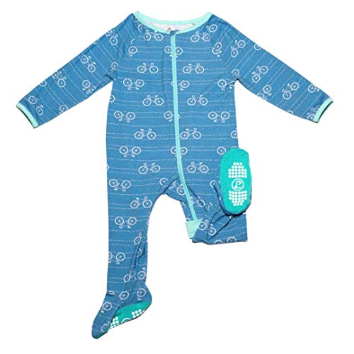 Lark Adventurewear: Premium Bamboo Zip Sleeper - No Slip Footie Pajamas (Baby, Boy, Girl 3M-2T), (6 Months, Blue Bikes)