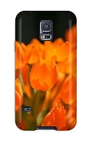 6149257K20296256 New Premium Flip Case Cover Orange Flowers Skin Case For Galaxy S5