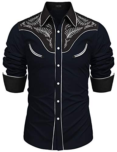 COOFANDY Men's Western Cowboy Costume Retro Shirt Mexican Mariachi Dress Shirt]()