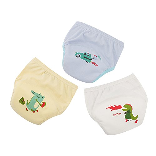 Waterproof Pants Training (3 PCS Baby Toddler Breathable Cotton Training Pants Waterproof Cartoon Kinder Potty Underwear (100/3-4 Years, B))