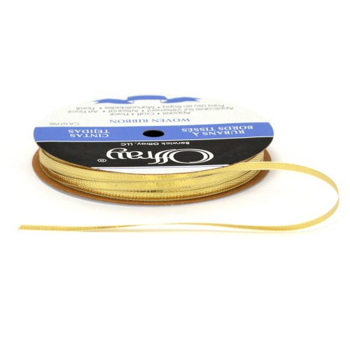 Offray Woven Metallic Ribbon, Gold